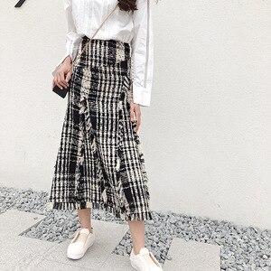 Image 1 - LONG SKIRTS WOMEN GIRL SKIRT 2018 show thin tweed grid show legs long qiu dong irregular knitted long restoring ancient ways