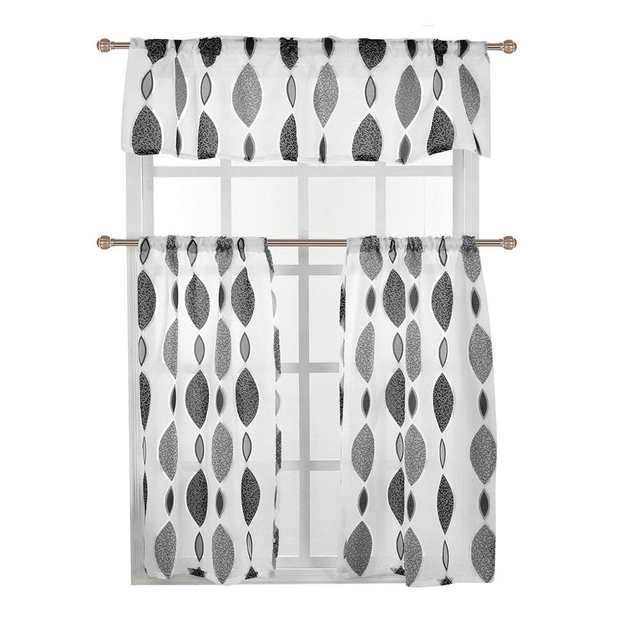 3pcs Set Double Color Pattern Printing Tulle Curtain Window