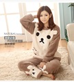Autumn and winter women thick comfort Flannel pajams cute monkey panda pink dots pajamas set o-neck with pants Home wearing suit