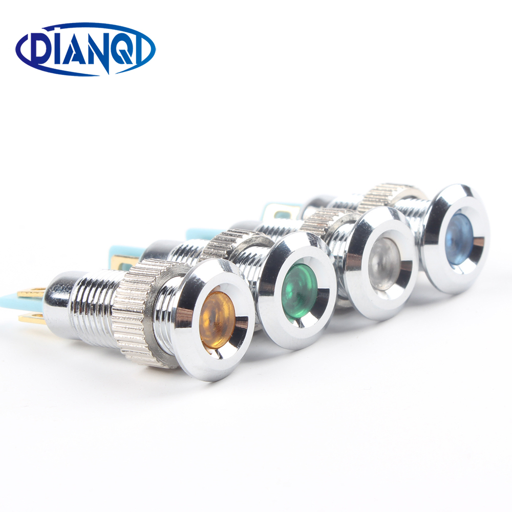 Metal Indicator Light LED 8mm Waterproof Signal Lamp 6V  12V 24V 220v Dot LIGHT Colorful Concave Indicator 8ZSD.A.C