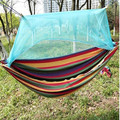 Free shipping new Portable High Strength thick canvas Fabric Camping Hammock Hanging Bed With Mosquito Net Sleeping Hammock