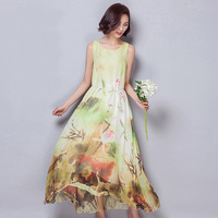 New Boho Summer Women Maxi Dress Brand New Sleeveless High Waist Vestido O Neck Floral Print