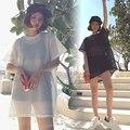Лето Взрослых выдалбливают топ хип-хоп танец носить костюм Черный Белый вырез clothing Mesh Сексуальная перспективность Удлиненный футболку