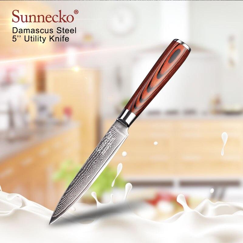 SUNNECKO Multipurpose 5 Utility Knife Damascus Steel Japanese VG10 Sharp Blade Kitchen Knives Pakka Wood Handle