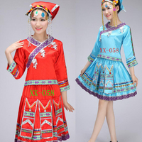 Ladies Miao Dance costumes embroidered Hmong Outfits women costume Tops+Dress+Hatwear Women chinese folk dance costume