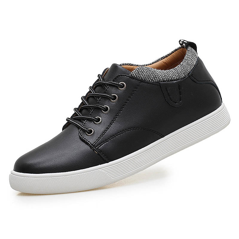 Men Casual Shoes Invisible Hidden Heels Male Shoes Rubber Anti slip Soles Round Toe Men Flats
