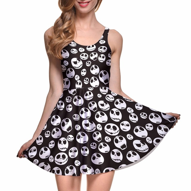 NEW 1087 Sexy Girl Women Summer The Nightmare Before Christma Skull Jake 3D Prints Reversible Sleeveless Skater Pleated Dress 1