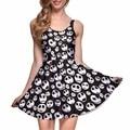NEW 1087 Sexy Girl Women Summer The Nightmare Before Christma Skull Jake 3D Prints Reversible Sleeveless Skater Pleated Dress