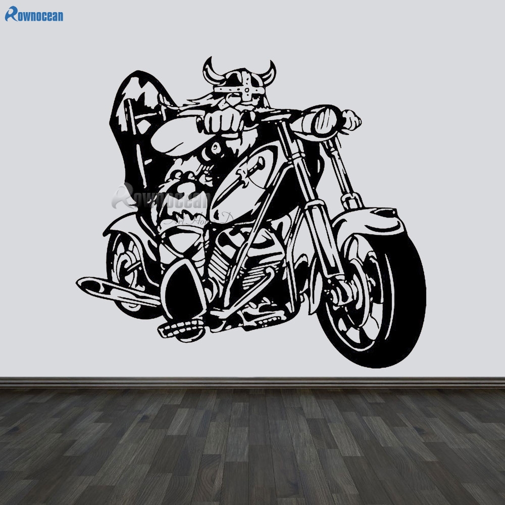 Wall vinyl sticker room decals mural design chopper bike helmet viking e617 in wall stickers from home garden on aliexpress com alibaba group