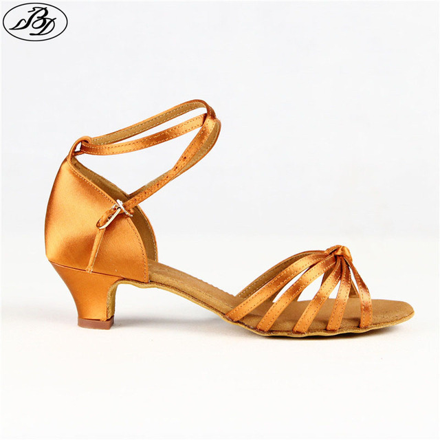 6c619e08c Girls Latin Dance Shoes BD606 Satin Brown Latin Dancing Shoe Ballroom Dance  Shoe Child Sandal Indoor Shoes Low Heel