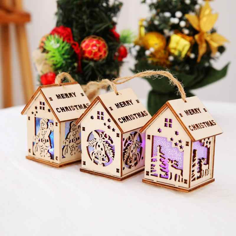 New Christmas Decoration With Light Color Cabin Christmas Tree Decoration Supplies Children's Gift Small House Decoration Hot