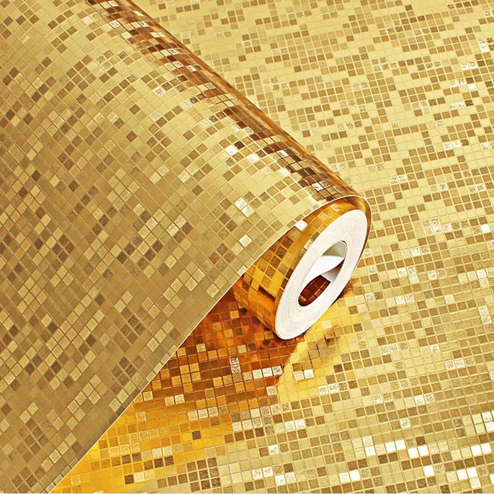 Q QIHANG moderne Simple or argent feuille papier peint étanche pour hôtel KTV barres TV toile de fond papier peint 1.73 'L x 32.8 'L = 57 Sq. ft - 2