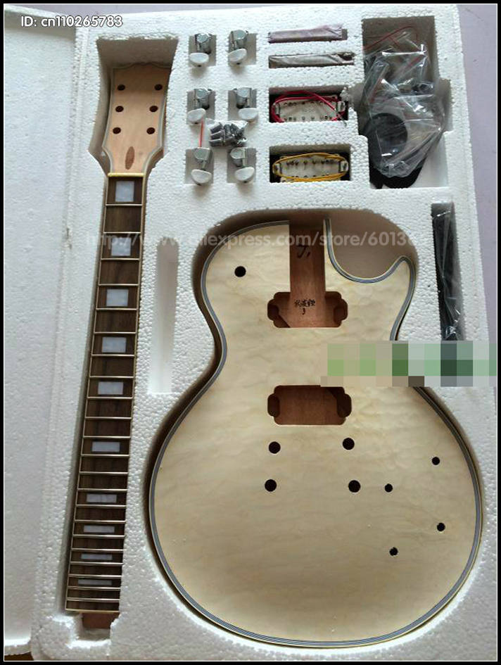 DIY Electric Guitar Kit Set-In Solid Mahogany Body Neck Flamed Maple Veneer HY002 white tiger pattern 3a grade maple veneer lp style electric guitar diy kit african mahogany okoume body neck rosewood fretboard