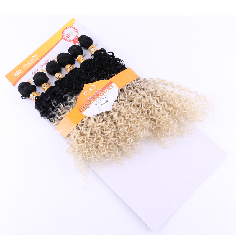 Eunice Kinky Curly Sew in Weave Hair #613 Blonde Hair 16-20 inch 6Pieces/lot Synthetic Hair Extensions Weaving High Temperature