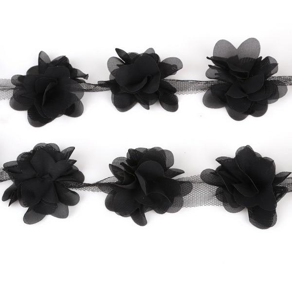 "1 1//2/"" Lot 6 3D Black Organza Flower Floral Sewing Trim"