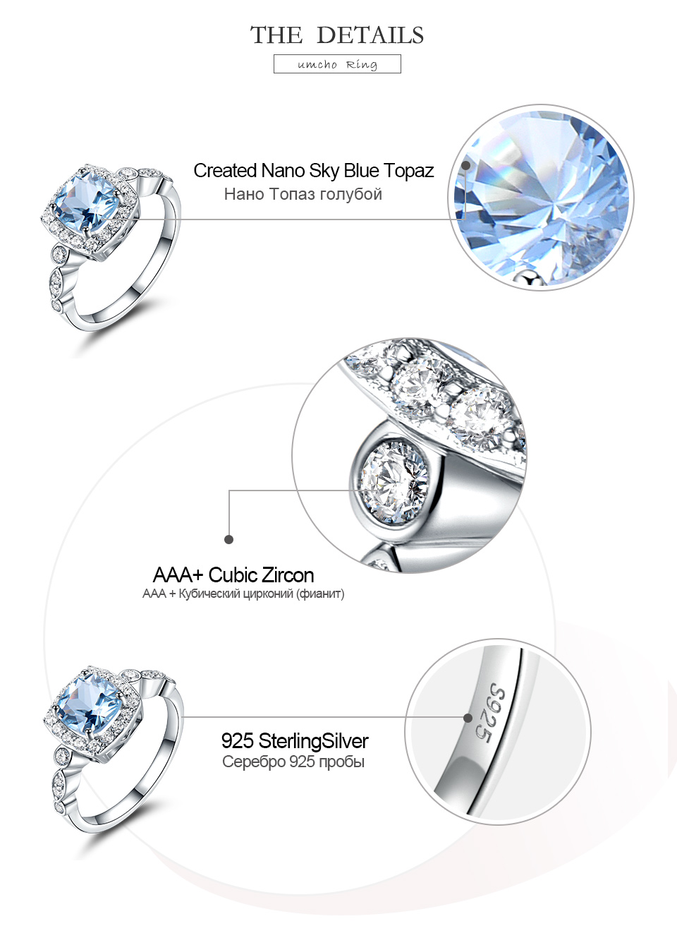 HTB1WIW1ev1H3KVjSZFBq6zSMXXaH UMCHO Real S925 Sterling Silver Rings for Women Blue Topaz Ring Gemstone Aquamarine Cushion Romantic Gift Engagement Jewelry