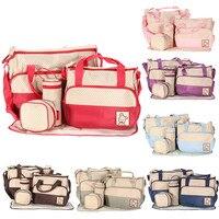 7 Colors 5PCS Set Tote Baby Shoulder Diaper Bags Durable Nappy Bag Mother Mummy Baby Bag