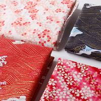 Cotton Fabric Patchwork DIY Fabrics Waves Cherry Blossom Color Bronzing S97