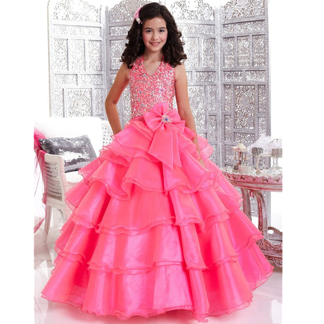 buy 2015 stunning halter fuchsia flower girl dresses for weddings with sequins. Black Bedroom Furniture Sets. Home Design Ideas