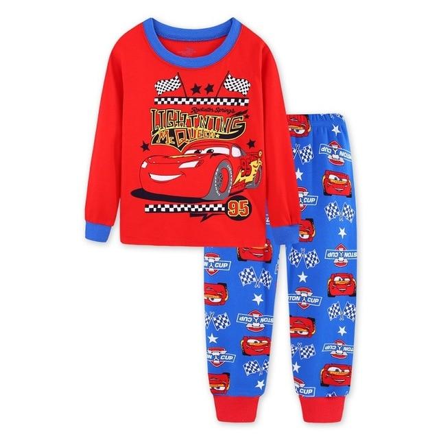 New Boys mcqueen Pajamas Set 95 Cars Cartoon kids Sleepwear Girls cute Home pajamas Children Set Girls cotton pyjamas size 2-7Y 1