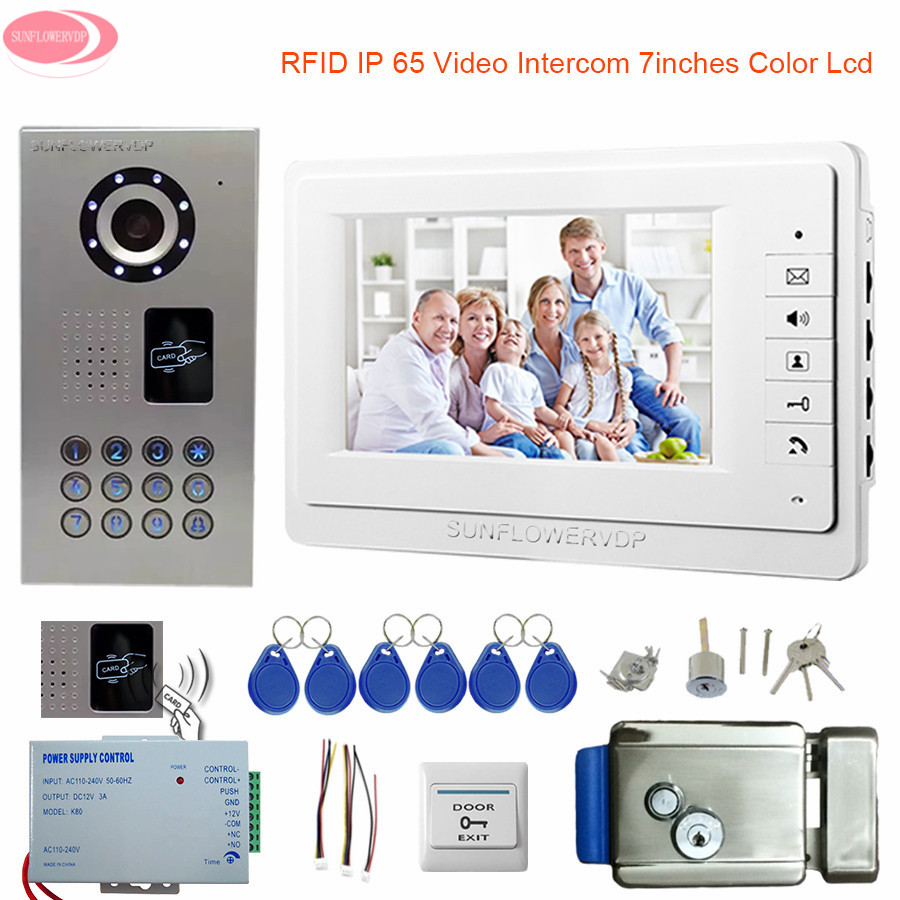 цена Video Intercom With a Lock For a Private House IP65 Waterproof Rfid 7'' Intercom In The Apartment Door Bell With Camera CCD Kit