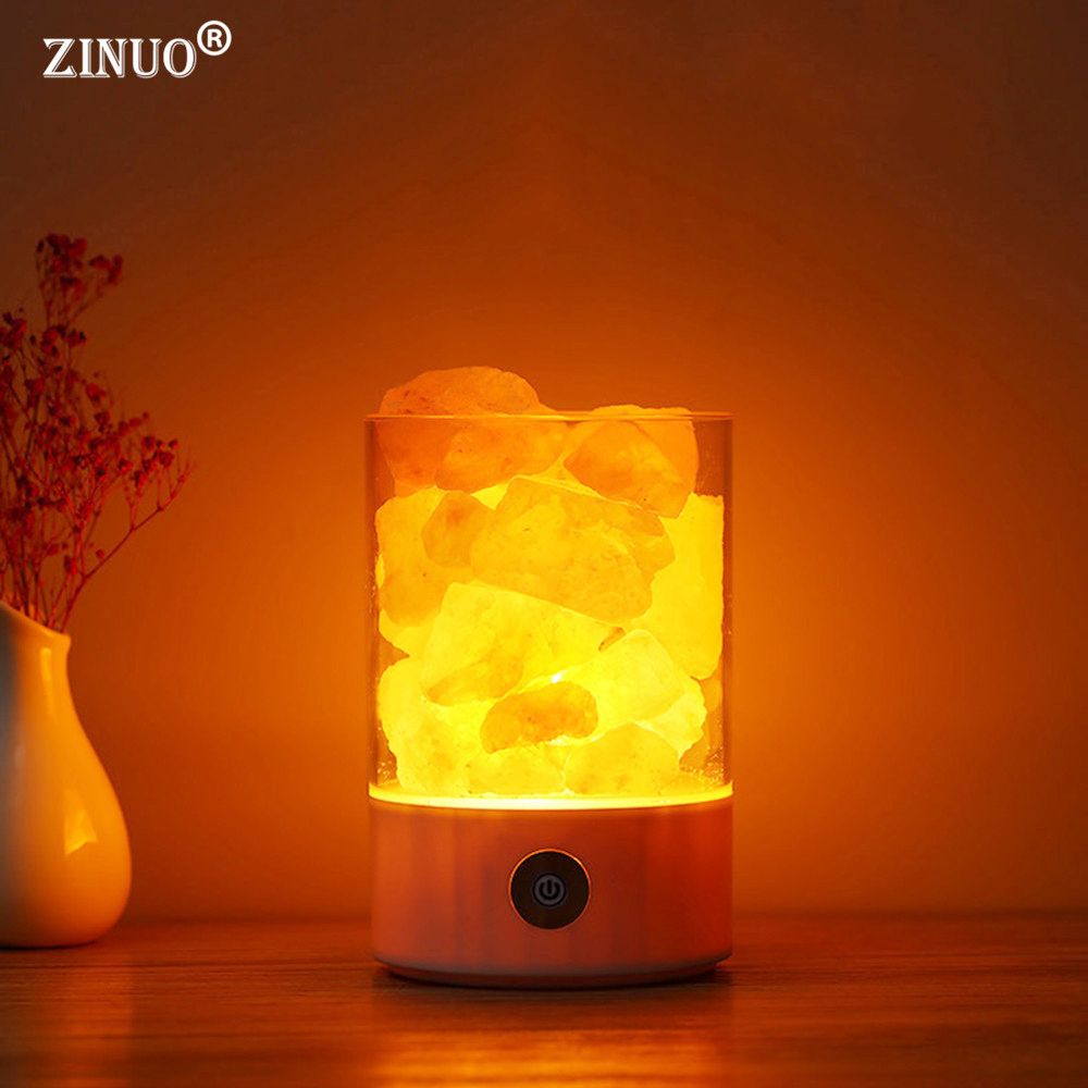 ZINUO Himalayan Salt Lamp LED Night Light USB Rechargeable Air Purifier Crystal Salt Rock Bedside Night Lamp For Children Kid's oygroup mini hand carved natural crystal himalayan salt lamp night light cylinder shaped illumilite lamp salt light oy17nl02