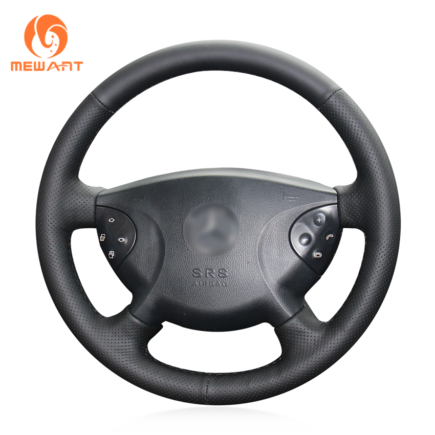 MEWANT Black Genuine Leather Hand Sew Wrap Fashion Car Steering Wheel Cover for Mercedes Benz W210
