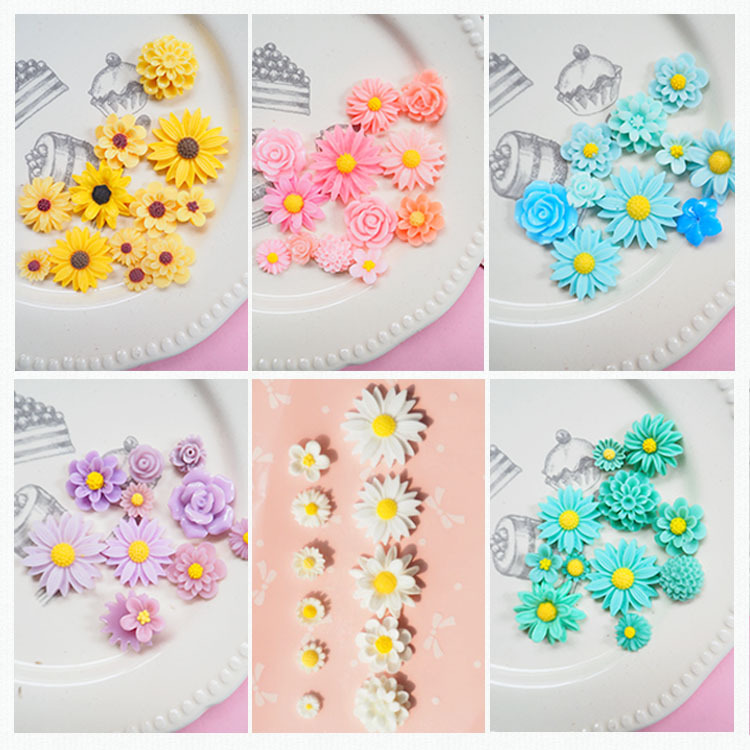 11pcs Mix Size Slime Charms Mini Resin Flat Back Daisy Flower Sugar Cabochon For Slime Beads For Ornament Scrapbook DIY Crafts