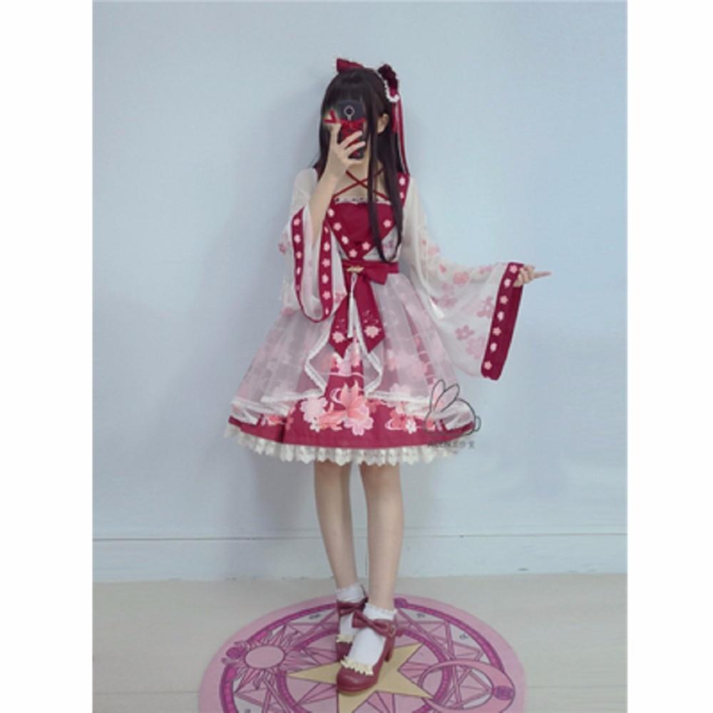 2017 nouveau Lolita robe en mousseline de soie poisson rouge broderie imprimé Floral Kawaii mignon Style chinois arc princesse robes Cosplay Costumes
