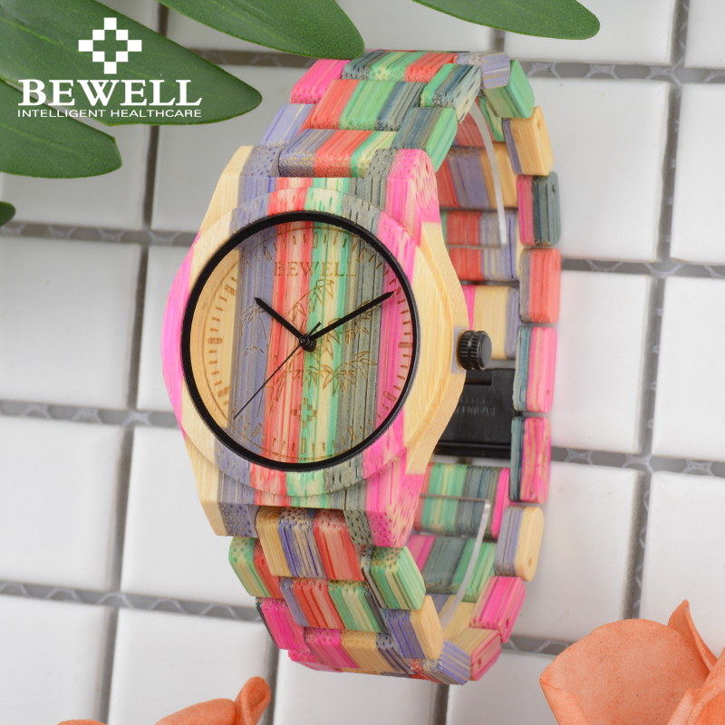 BEWELL 105DL Natur Handgjord Färgrik Bambu Trä Klocka Kvinnor Analog Quartz Mode WristWatch med Mix Färger Gratis frakt