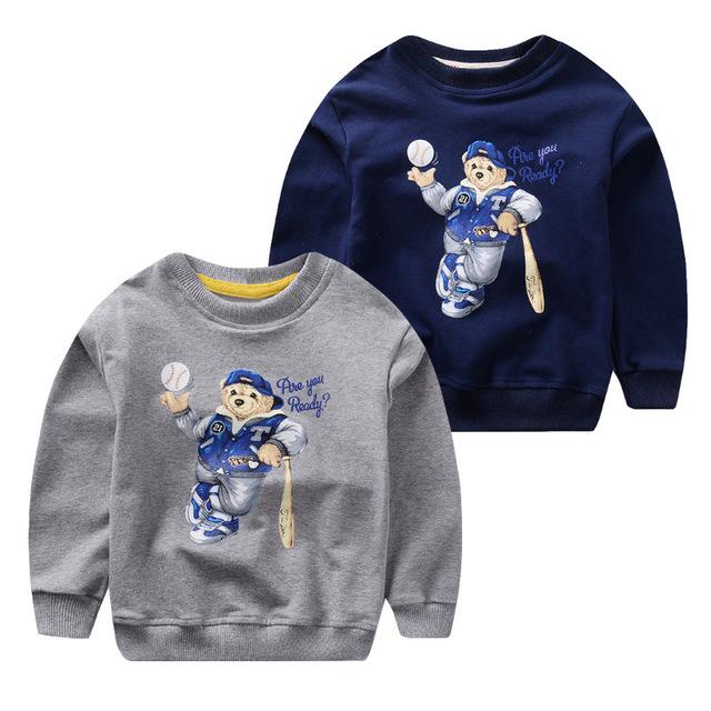 2016 Na Primavera Quente das Crianças Meninas Meninos Roupas Unissex Crianças Urso Dos Desenhos Animados impresso Sweatershirt Outwear Casaco Bebê para 2-6Years