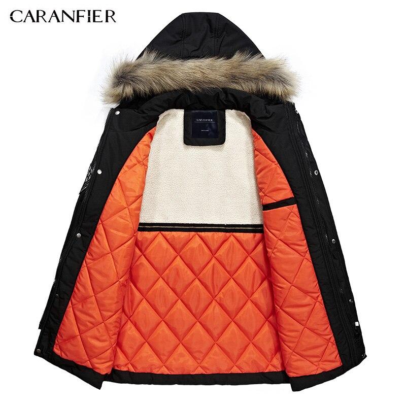 CARANFIER 2017 nueva Moda hombre abrigo de invierno marca chaqueta con  capucha los hombres de piel oscuro Hombres Calientes chaquetas bolsillos  delanteros ... 92453a73f5fe