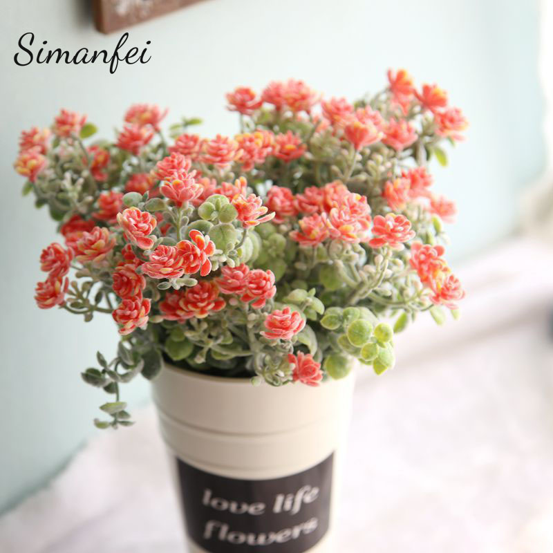 Simanfei Artificial Flowers 2018 European Bride Bouquet Wedding Home Party Festival Decor flocking Milan Camellia Arts Crafts