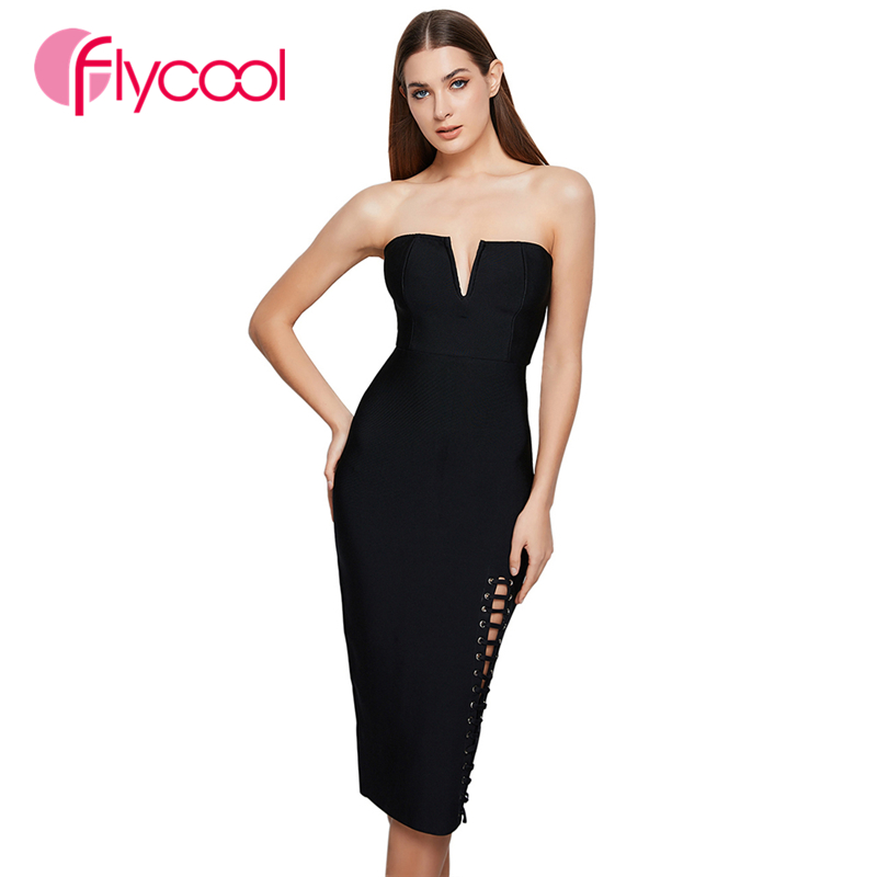 Flycool 2019 Sexy Bandeau Solid Fashion Backless Hollow Out Bandage Dress Slit Bodycon Party Vestidos