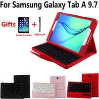 Litchi Pattern Leather Removeable Wireless Bluetooth Keyboard Case Cover for Samsung Galaxy Tab A 9.7 T550 T555 P550 P555