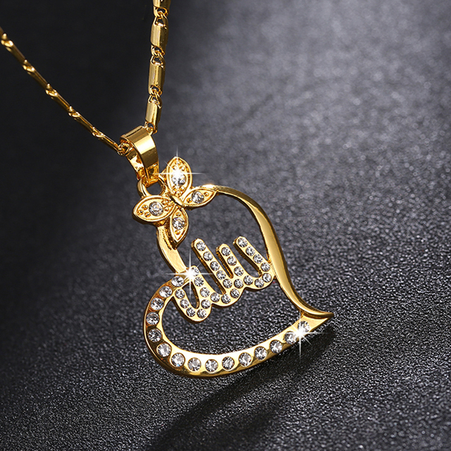 afd5be49e51 SONYA Arabic Women Gold-color Muslim Islamic God Allah Charm Pendant  Necklace Jewelry Ramadan Gift