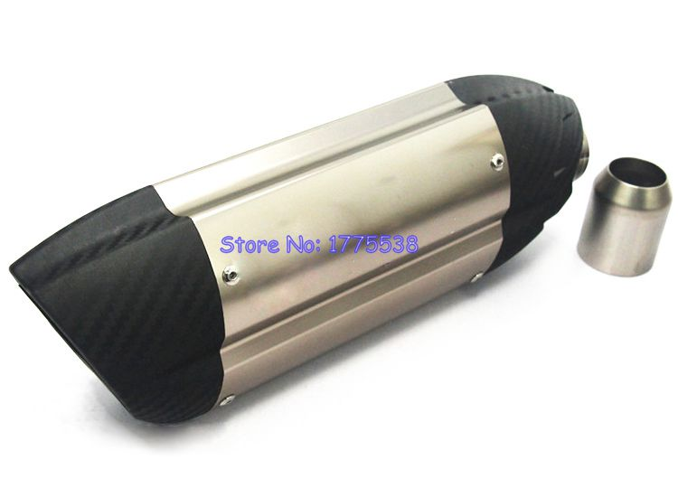 PHULEOVE Length 380mm ID:51mm Motorcycle Exhaust Muffler Pipe Carbon Fiber Exhaust Tailpipe Muffler Escape for Ducati 796 Z800