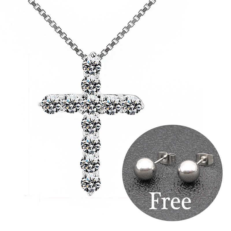 Szczęście kobieta krzyż wisiorki z kryształami kolor srebrny łańcuch naszyjniki błyszczące cyrkonie Choker naszyjniki biżuteria prezenty dla kobiet