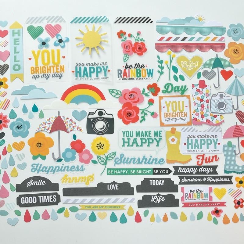 120pcs You Make Me Happy Transparent PVC Diecuts For DIY Scrapbooking/photo Album Decoration Crafts