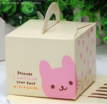9.5*9.5*8cm Little Bear Cake Paper Box With Handle Food Packing Gift Box 100pcs/lot Free shipping