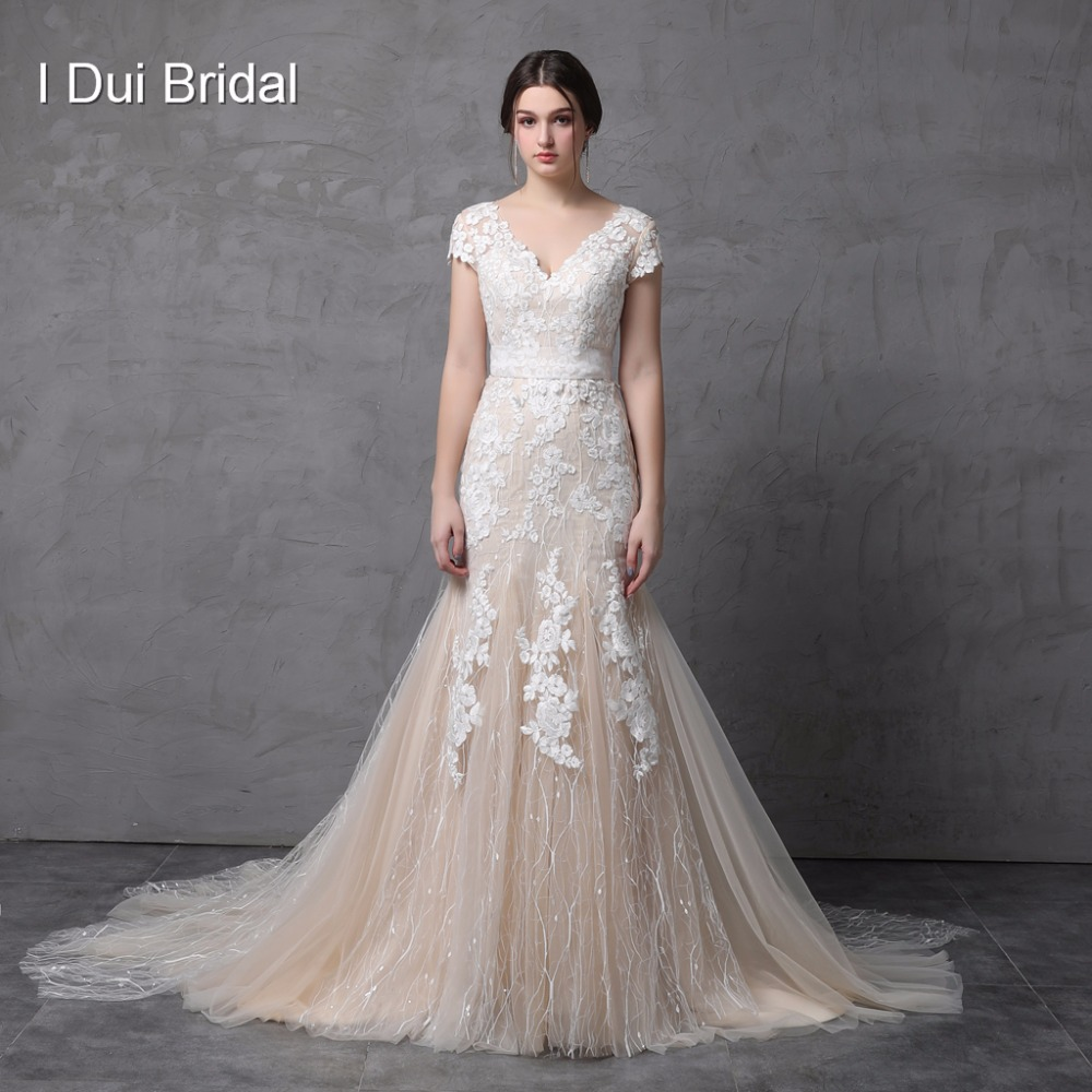 Short Sleeve V Neckline Mermaid Wedding Dress Champagne with Floral Lace Illusion Back