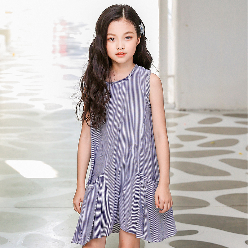 new 2018 sleeveless striped baby big girl dress summer cotton children big pocket sundress kids casual dresses for girls clothes unini yun 2 7t girl dress baby kids summer flower cherry backless sundress girl cotton sleeveless princess beach casual dresses