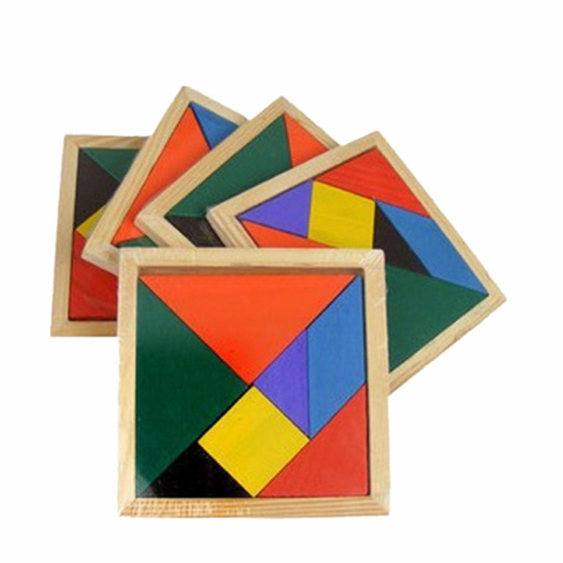 7 Piece Wooden Tangram Jigsaw Puzzle Colorful Square IQ Game Brain Teaser Intelligent Educational Toys For Children Kids
