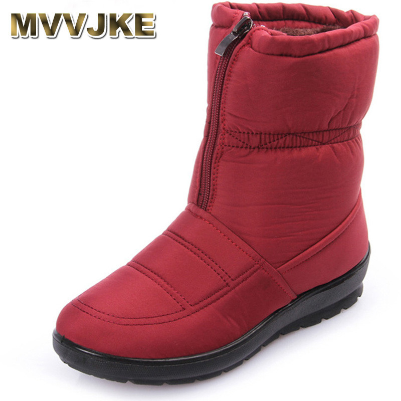 MVVJKE 2018 women snow boots winter warm boots thick bottom platform waterproof ankle boots for women thick fur cotton shoes siz women boots 2018 thick plush warm leather women winter shoes waterproof platform ankle snow boots