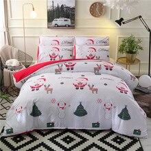 Noel yatak takımları 2/3 adet karikatür yorgan yatak örtüsü seti noel baba tek/kraliçe/king size yatak keten yatak örtüsü
