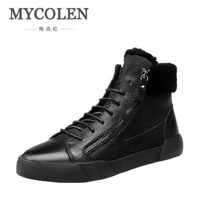 MYCOLEN Super Warm Men's Winter Leather Ankle Boots Men Waterproof Snow Boots Leisure Side Zipper Martin Shoes Zapatos martin winter boots for men and men s winter snow boots warm cashmere waist leather shoes in winter thickening