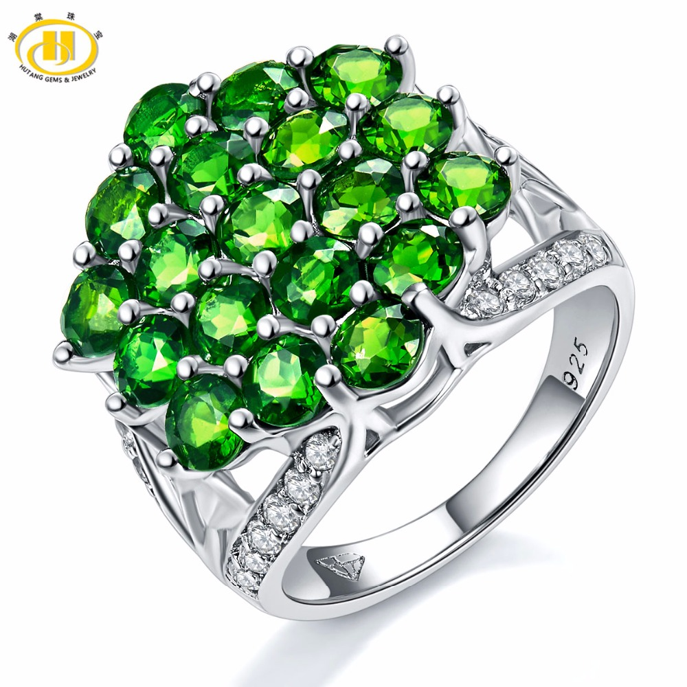 Hutang Natural Vivid Chrome Diopside Topaz Ring Solid 925 Sterling Silver Womens Green Gemstone Fine Stone Jewelry New ArrivalHutang Natural Vivid Chrome Diopside Topaz Ring Solid 925 Sterling Silver Womens Green Gemstone Fine Stone Jewelry New Arrival