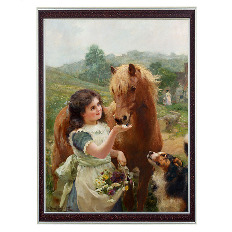 Needlework Crafts & Gift 14CT unprinted embroidery DMC Quality Counted Cross Stitch Kit Oil painting Girl And Horse Pattern