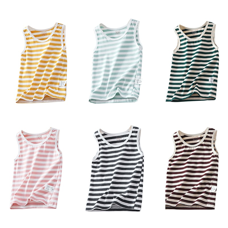 Girls Vest Tops Undershirt Model Children Singlet Cotton for 2-7-Years Stripe Solid-Color