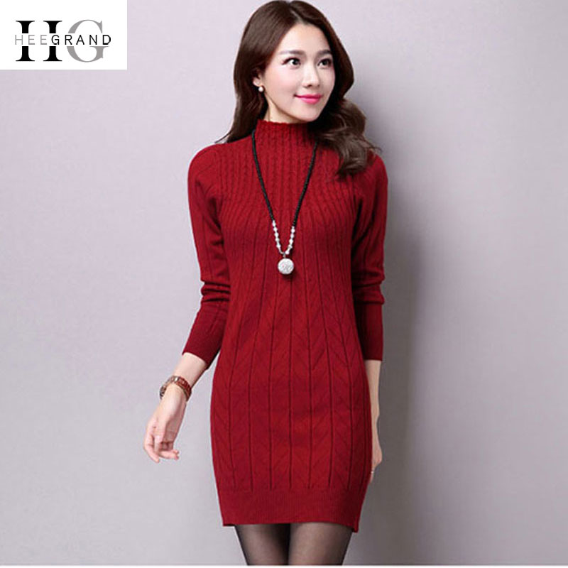 HEE GRAND Knitted Bodycon Sweater-Dresses for Women 2018 Autumn Elegant Office Ladies Sweaters Turtleneck Slim Pullovers WZQ298